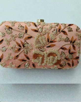 Embellished Peachy Pink Clutch
